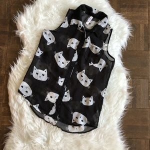 Xhilaration Girls Large Sleeveless Shirt Cat Kitty